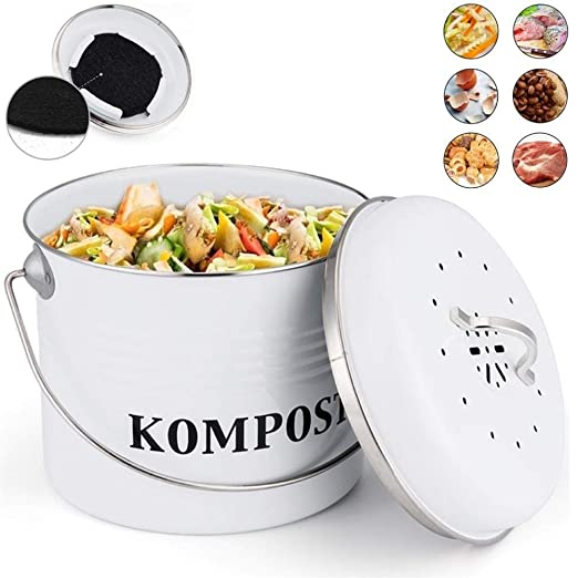 Cocina De Contenedor De Compost De 5L Con Tapa, Cubo De Compost De ...