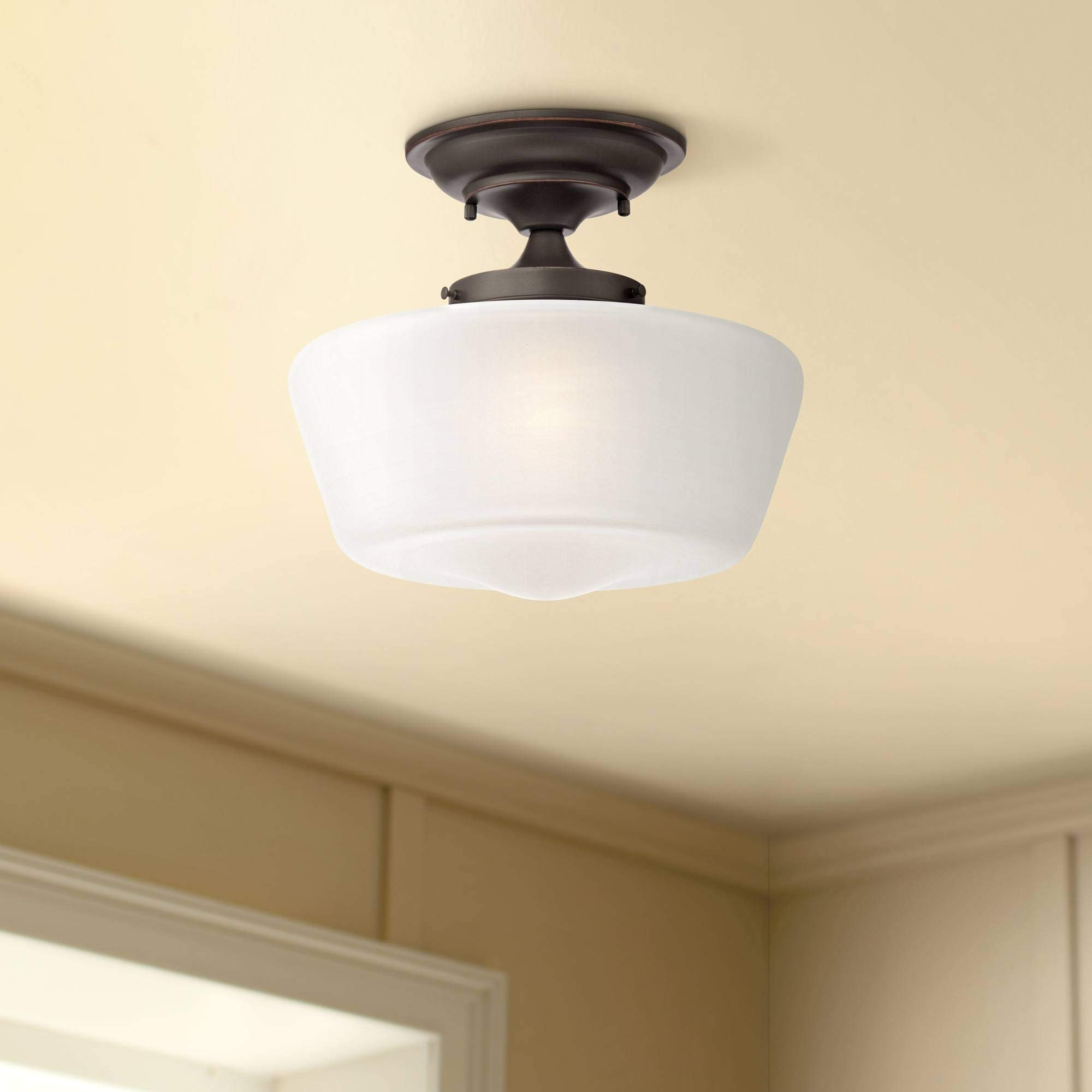Schoolhouse floating ceiling light semi flush mount fixture bronze 12 white glass for bedroom kitchen regency hill ceiling pendant fixtures amazon