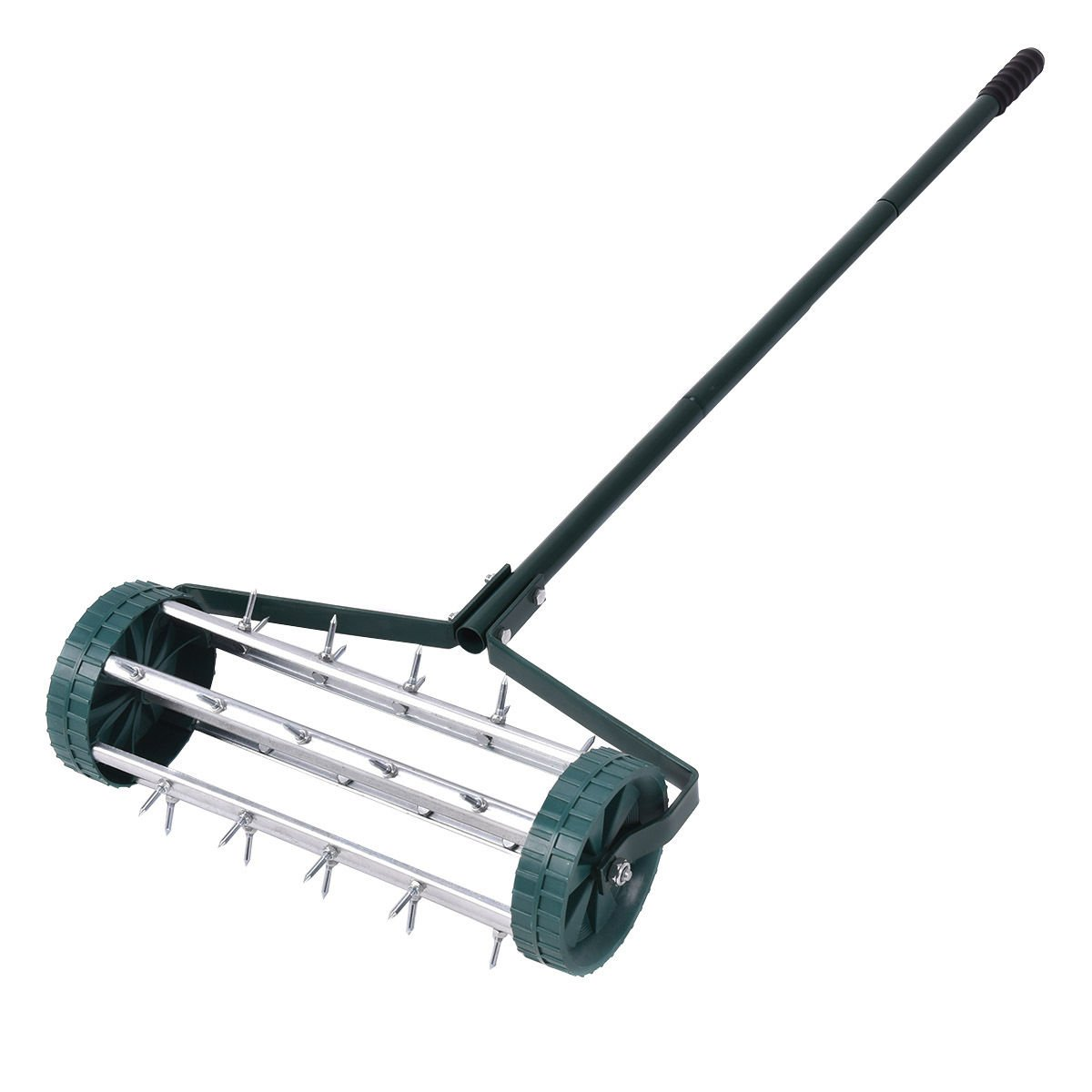 Globe House Products GHP Green Tubular Steel & Plastic 6'' Diameter Rolling Garden Lawn Aerator Roller