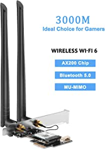 Gigabit PCIE Wireless Network Card Wi-Fi 6 Intel AX200 MU-MIMO Adapter,Bluetooth 5.0 Adapter,PCI Express WiFi Card for Windows 10