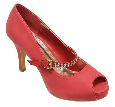 4f9846e1f5a85 Lasonia M7725 Women s peep toe platform cone heels with upper rhinestone  decor strap pumps Red 6