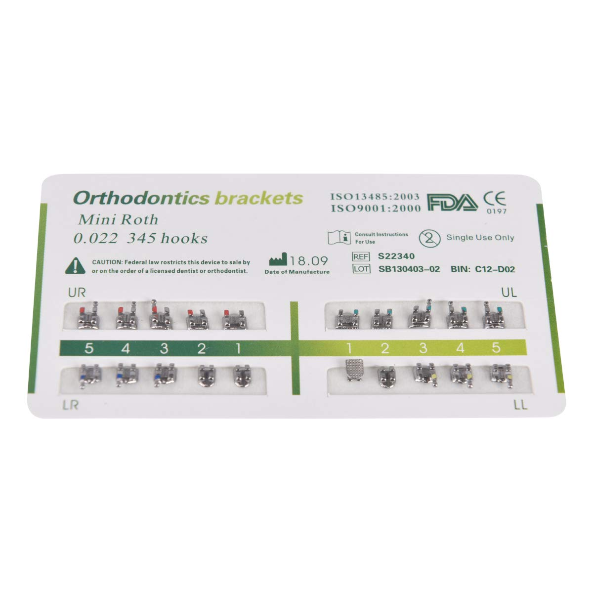10Packs Dental Orthodontic Bracket Brace Mini Roth Slot 022 Hooks 3-4-5 CE&FDA (Roth)