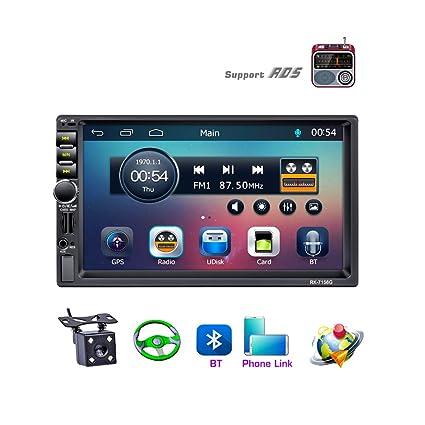 LSLYA 7 Pulgadas Pantalla Táctil 2din car radio navegación GPS 1080P Vista Posterior Cámara Espejo Bluetooth Manos Libres Llamadas reproductor MP5 FM ...