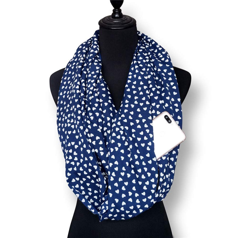 Womens Winter Scarfs Leopard Printed Scarfs for Women Pocket Loop Zipper Ladies Infinity Scarves and Wraps Shawls
