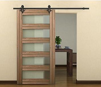 Estados Unidos Premium Store 6 ft Negro País estilo madera acero puerta corredera armario de riel American granero: Amazon.es: Bricolaje y herramientas