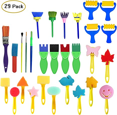 Kuqqi 12pcs Assorted EVA Sponge Painting Stamper Foam Sponge Brush Painting Tools for Painting Drawing Crafts and DIY