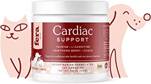 FERA Cardiac Support Supplement for Dogs Cats, Taurine, L-Carnitine, CoQ10, Organic Hawthorn Berry, Vitamin E, Promotes Cardiovascular Heart Health, Healthy Circulation