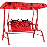 Charming Costzon Patio Swing, Ladybug Porch Swing With Safety Belt, 2 Seats Outdoor  Lounge Chair