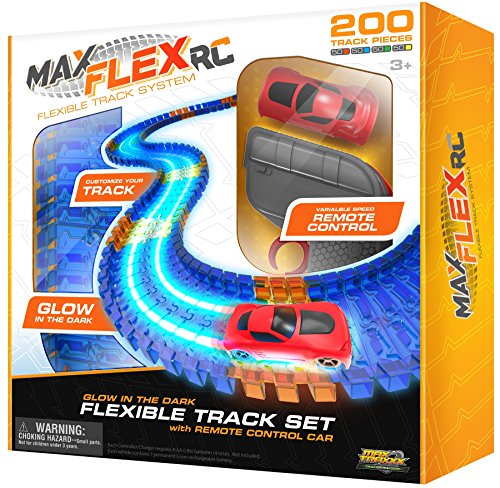 Max Traxxx Max Flex 200 R/C Glow in the Dark Flexible Race Track System with Light Trace Technology 1:64 Scale Remote Control Car