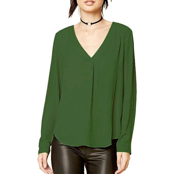 Hanmax Damen Vintage Chiffonshirt Tops V Ausschnitt T Shirt Bluse