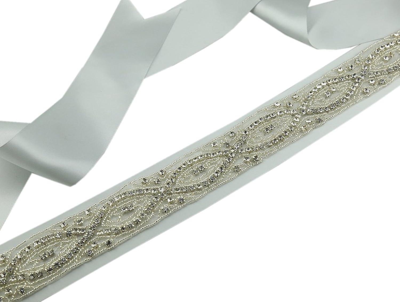 SoarDream Bridal Dress Belt, Rhinestone Wedding Belt, Wedding Sash, Silver.