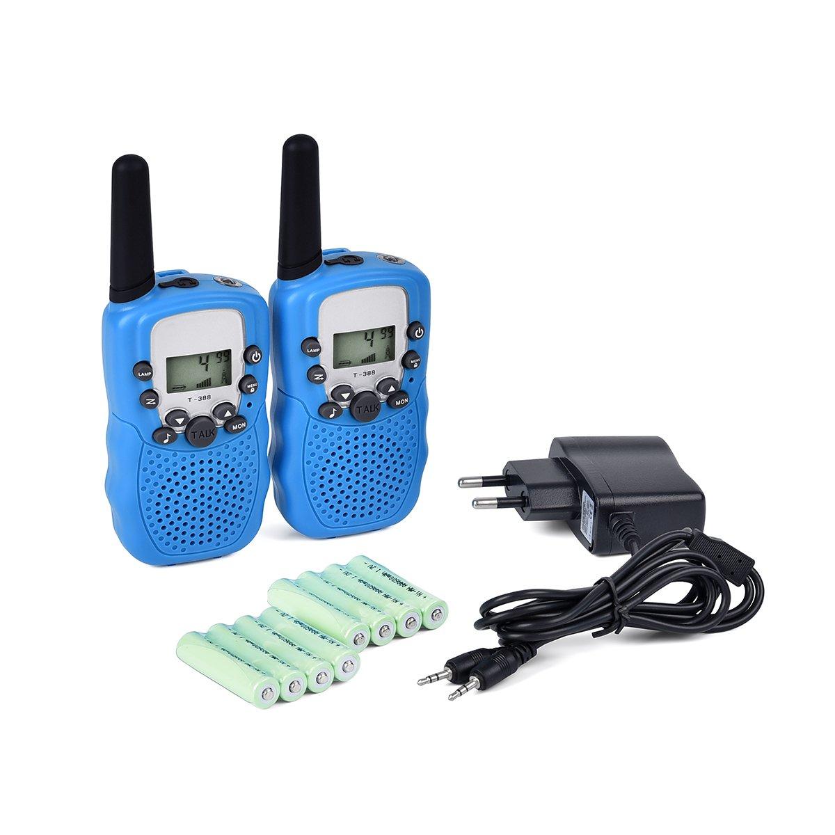 Upgrow 2x Walkie Talkies Set Kinder Funkgeräte mit Ladegerät und Akkus 3KM Reichweite 8 Kanäle VOX Taschenlampe Walki Talki Spielzeug für Kinder mit 8 Akkus Wiederaufladbar (Gelb) T-388 walkie talkies