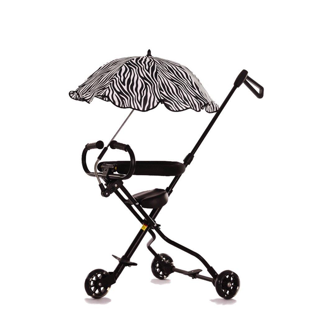 子供の三輪車1-6歳のベビーベビーカー赤ちゃん折りたたみ式の赤ちゃんキャリッジ、青、ピンク、黒、52.5 * 100cm ( Color : Black ) B07C6BXWW8