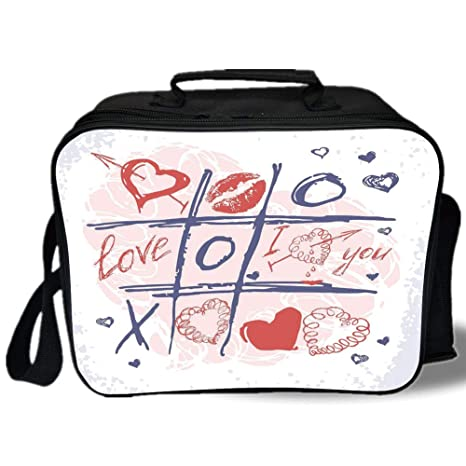 Amazon Com Insulated Lunch Bag Valentines Day Decor Xoxo Game