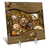 3dRose Heike Köhnen Design Steampunk - Awesome noble steampunk design, clocks and gears - 6x6 Desk Clock (dc_287327_1)