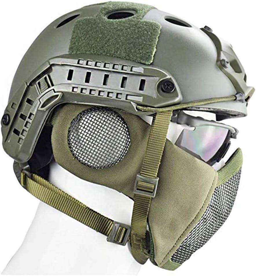 DZLXY Casco t/áctico Airsoft Paintball Tiro Casco Protector Militar CS Casco de Campo y m/áscara de Malla de Acero Unisex