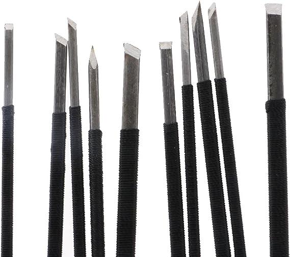 MagiDeal Kit Herramienta para Buril de Seal Piedra Set con 10 Piezas Carpinter/ía Duradero Bricolaje DIY