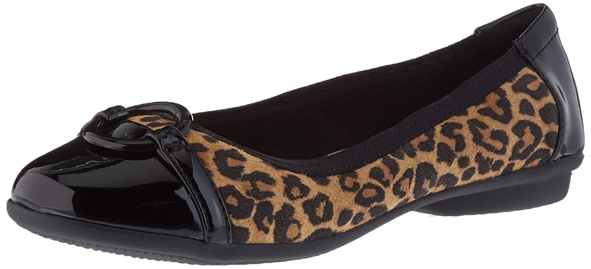 CLARKS Women's Gracelin Wind Dress Flat Ballet, Tan Leopard Suede, 90 W US by CLARKS