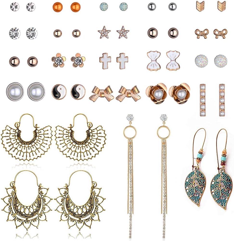 Ciyoon Womens New Stud Earrings Tassel Set Cute Vintage Earrings for Girls Women Men