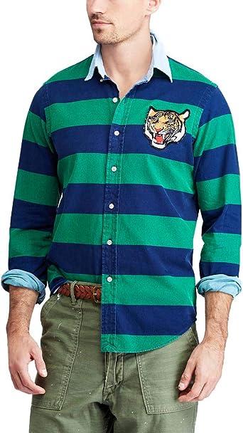 Camisa Sport Ralph Lauren Rayas Marino/Verde Hombre x-Large ...