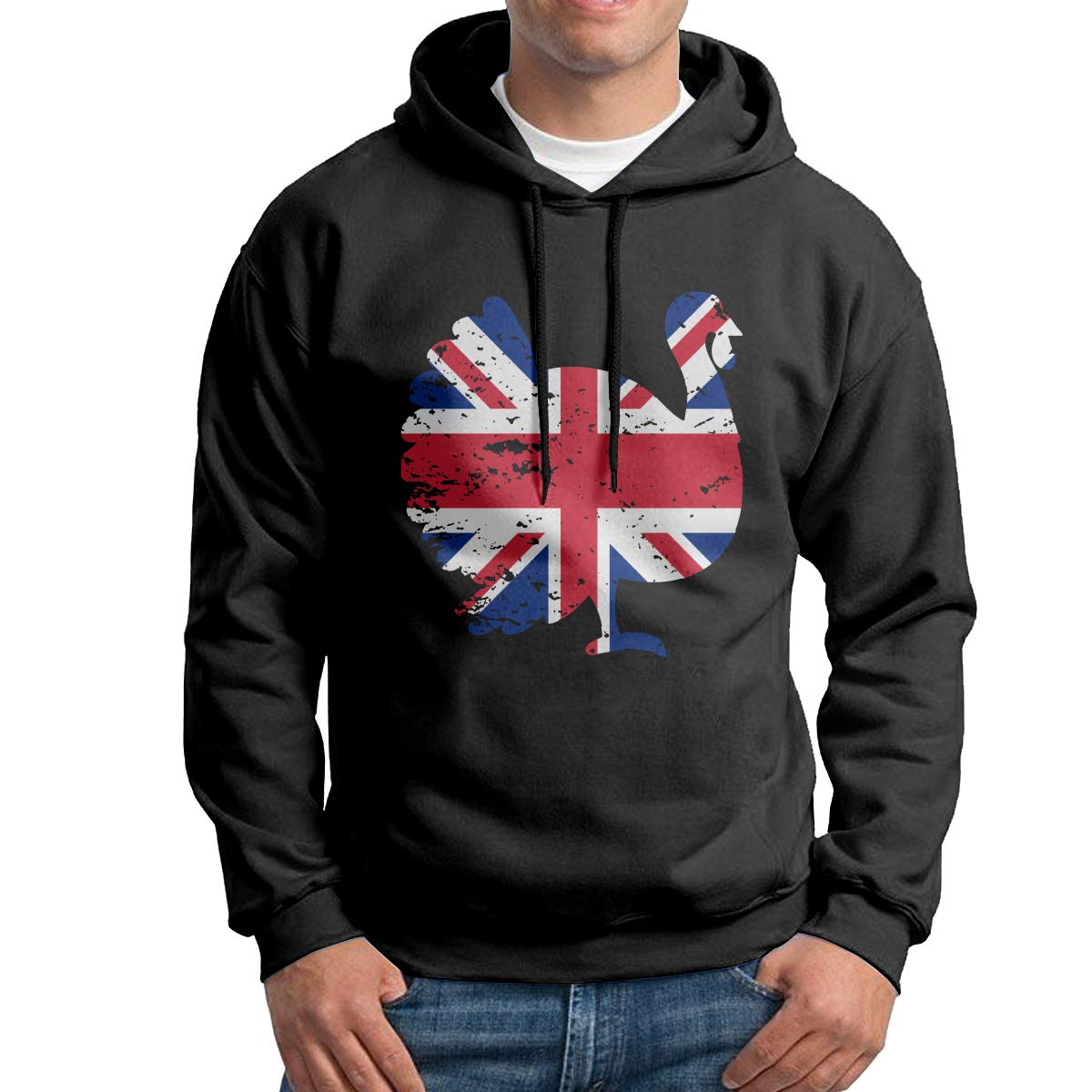Mens Pullover Hoodies Patriotic Turkey British Flag Long Sleeve Fleece Hooded Sweatshirt Sweater Blouses Tops