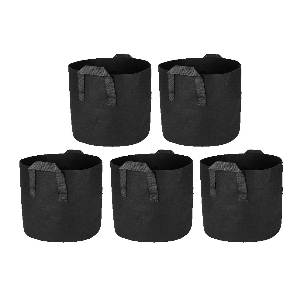 CoolGrows Grow Bags 5-Pack 5 Gallons Aeration Fabric Pots Nonwoven Plant with Handles