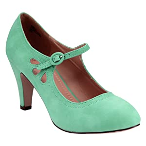 CHASE & CHLOE KIMMY-21 Women's Round Toe Pierced Mid Heel Mary Jane Style Dress Pumps, Color:MINT, Size:6