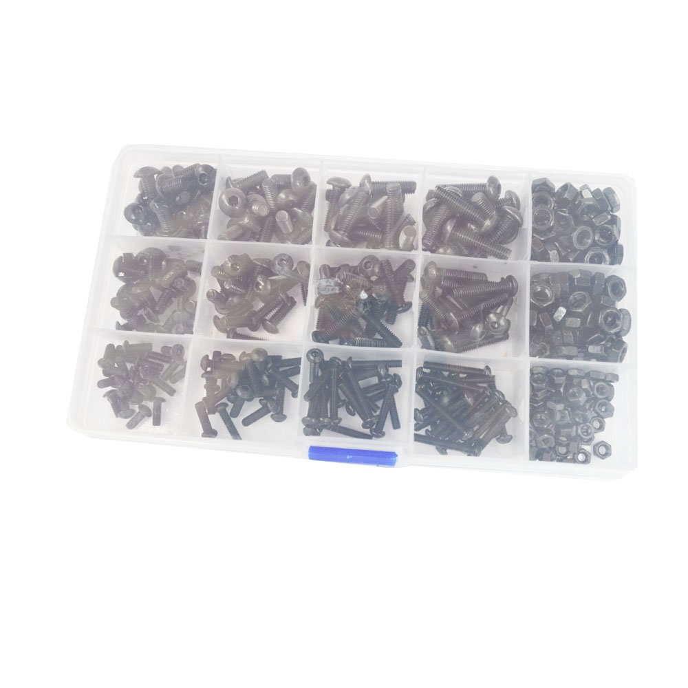 Button Head Hex Socket Cap Metric Machine Screws Bolts Nuts Oxide Finish Alloy Steel Hardware Assortment Kit 431Pcs,Black 10.9 Class M3 M4 M5 ALBERT GUY