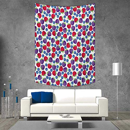 smallbeefly Colorful Home Decorations Living Room Bedroom Wild Fruits Collections Raspberry Blueberry BlackBerry Fresh Healthy Options Wall Art Home Decor 54W x 84L INCH ()