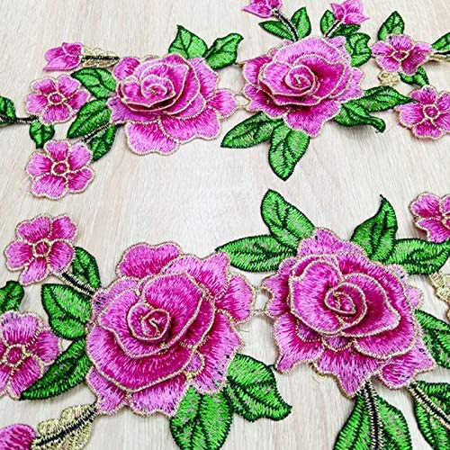 Kakoop 1 Pair Applique Cloth Patch Colorful Water Soluble National Flowers Embroidery Sew On Patches Motif DIY Clothes Patches For T-shirt Cheongsam