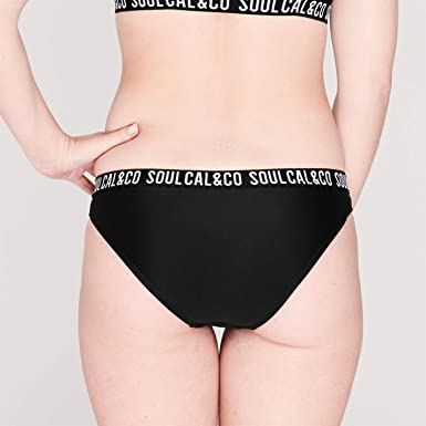 SoulCal Deluxe Jacquard Bikini Top Ladies Stretch Colour Block Elasticated