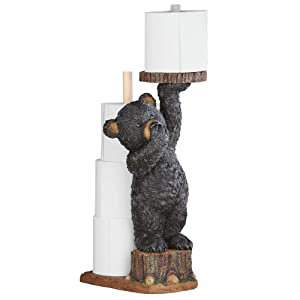 "Collections Etc Northwoods Bear Cub Toilet Paper Holder, 22"" H"