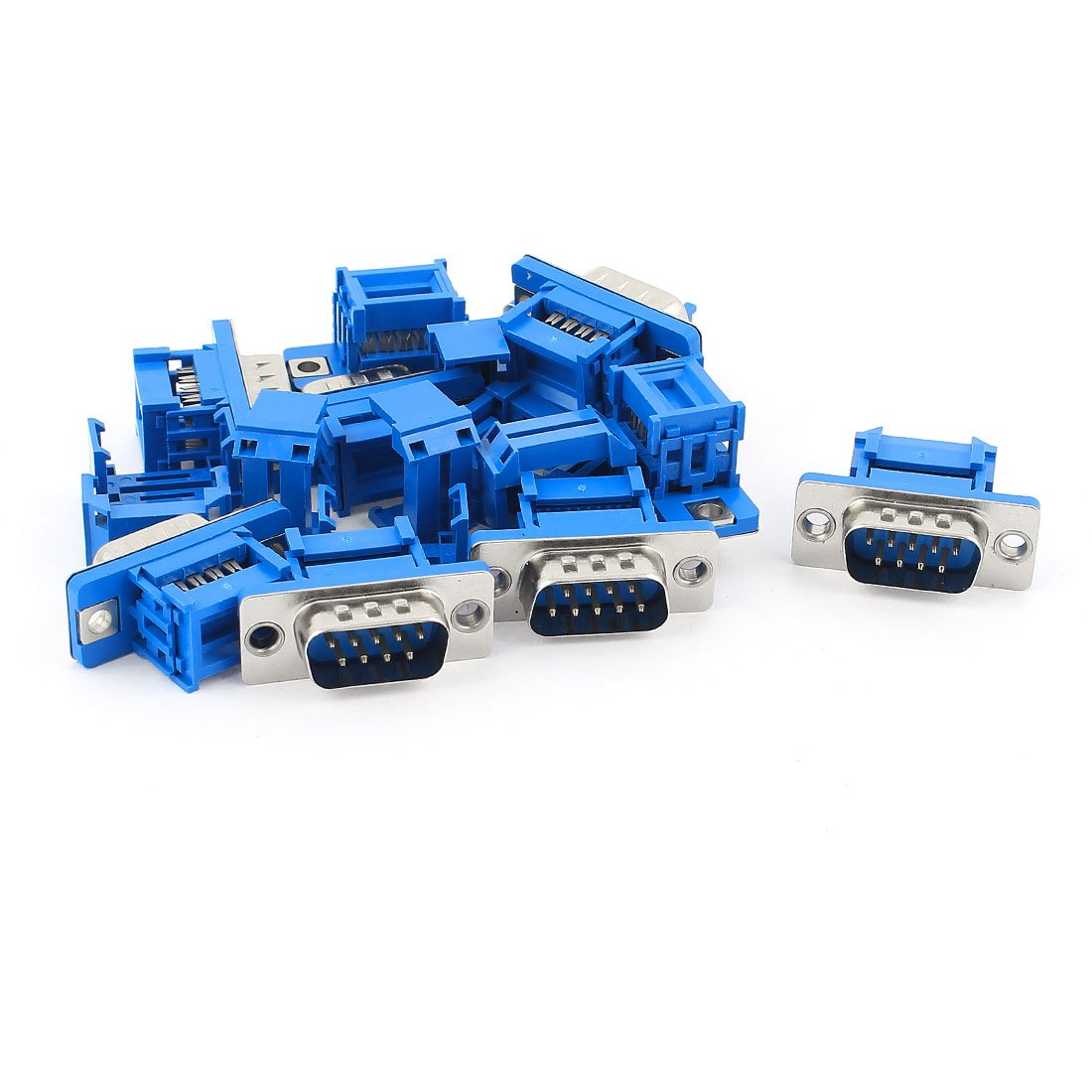 sourcing map IDC D-Sub Ribbon Cable Connector 9-pin 2-row Female Socket IDC Crimp Port Terminal Breakout for Flat Ribbon Cable Blue