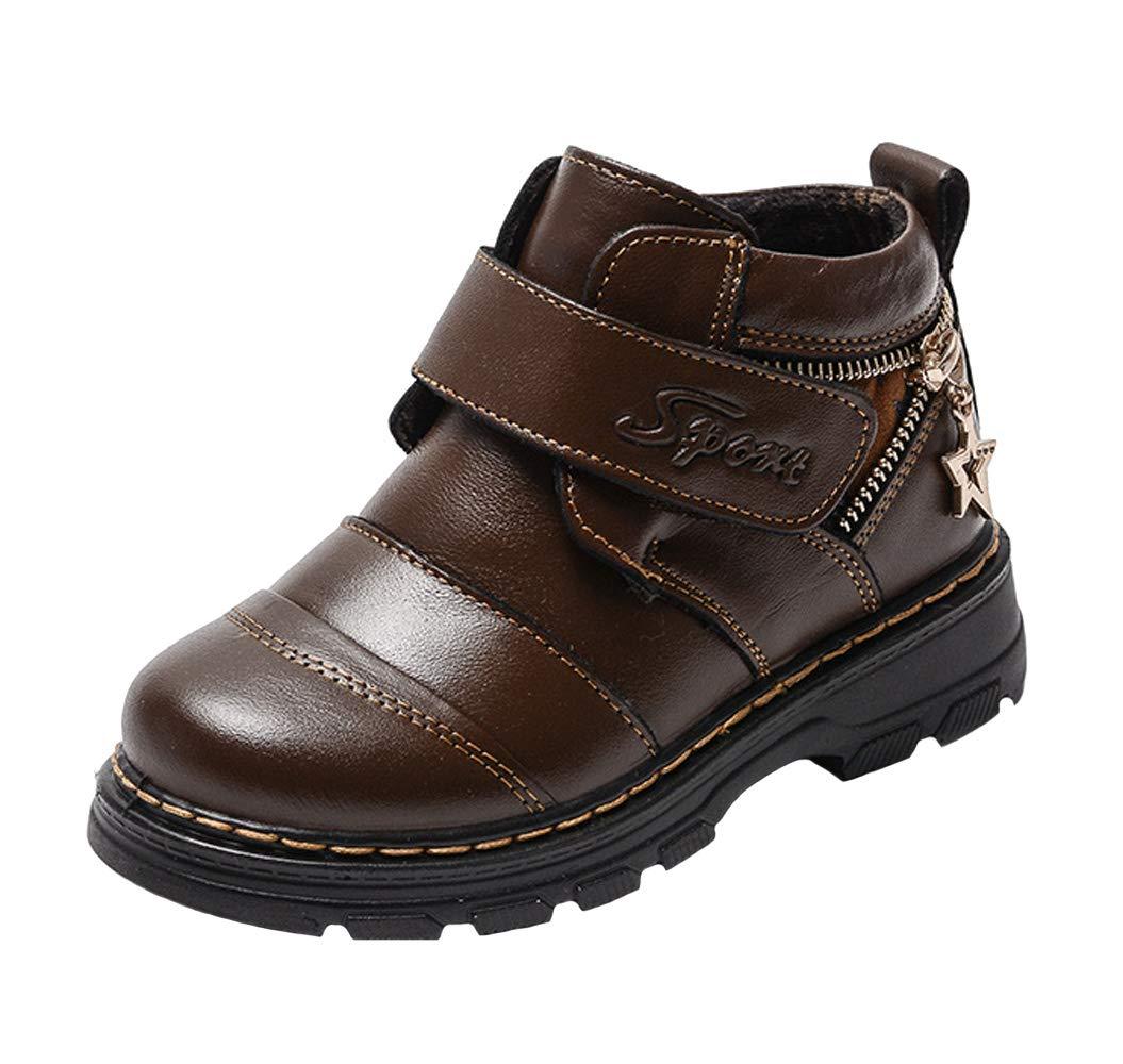WUIWUIYU Boys' Warm Fur Oxfords Shoes Ankle Boots Fashion Sneakers Brown Size 13.5 M