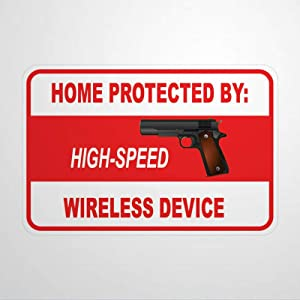 DONL9BAUER Metal Tin Sign Home Protected High Speed Wireless Device Metal Sign Wall Decor Waterproof Aluminum Sign Wall Art Mark Wall Plaque for Home Office Man Cave Bar Garage 12''x16''