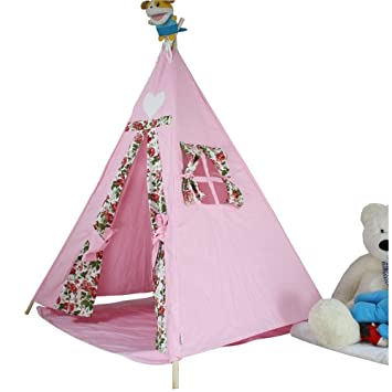 Girls Teepee Play Tent For Princess - Children Cotton Canvas Wigwam Indoor Playhouse For Kids By  sc 1 st  Amazon UK & Girls Teepee Play Tent For Princess - Children Cotton Canvas ...