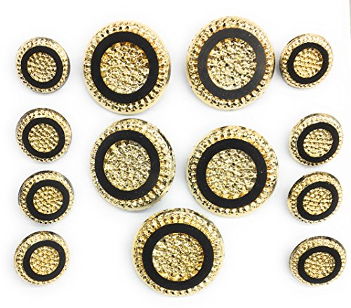 13 Black Gold Buttons Hammered Design Sets for Coats and Suits - Rhinestone Button - Buttons Italian
