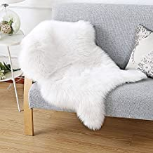 HAOCOO Nordic Style Premium Faux Sheepskin Rug Carpet with Super Fluffy Thick Fur, Fits Perfectly in Living Room / Bed Room or as a Couch Decor. Approx. 2ft. x 3ft. (lvory White)