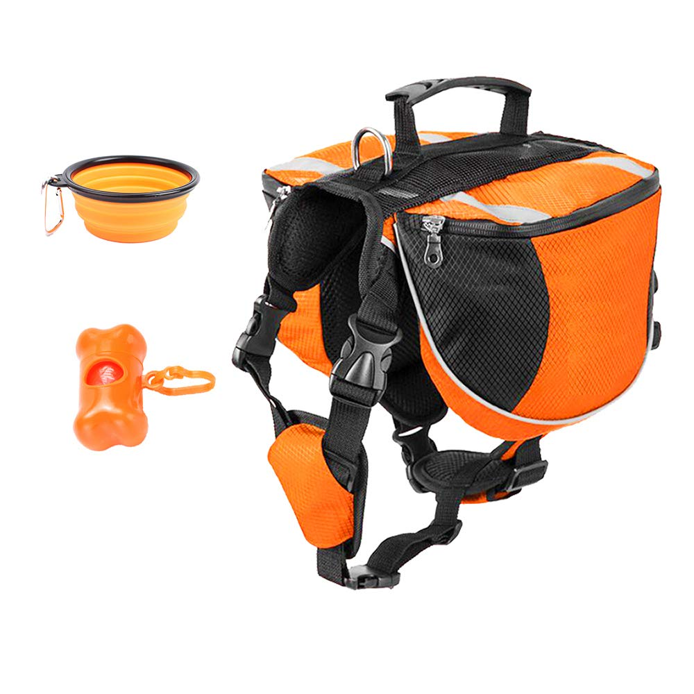 orange Medium orange Medium Perktail Dog Saddle Bag Doggie Backpack for Pets Adventure Tripper Hound Rucksack Pack for Walking Hiking Mountaineering Trip