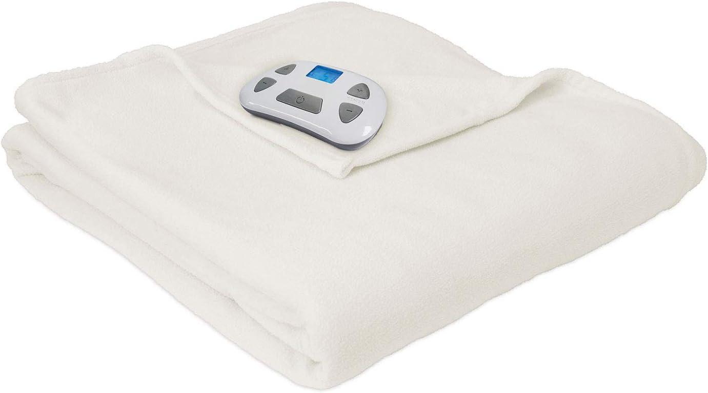 Pure Warmth 873983 Micro Fleece Electric Heated Warming Blanket Twin Natural Washable Auto Shut Off 10 Heat Settings