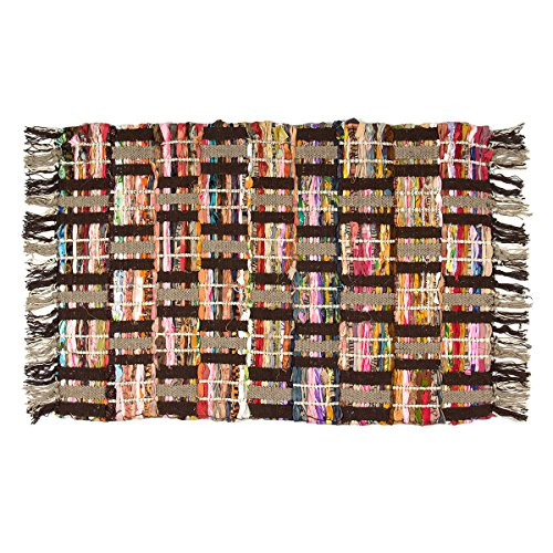 Sunrise Chindi Area Rag Rugs Recycled Multi-Color Woven Fabric Casual For Home Decor Dorm Living Room Entryway 2x3 Feet (Shag Rag)