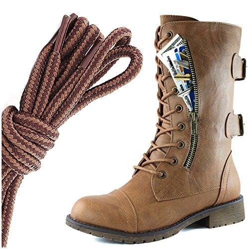 Dailyshoes Femmes Lace Militaire Boucle Boucle Bottes De Combat Mi Genou Haute Carte De Crédit Exclusive Poche, Marron Clair Bronzage Mince Bronzage