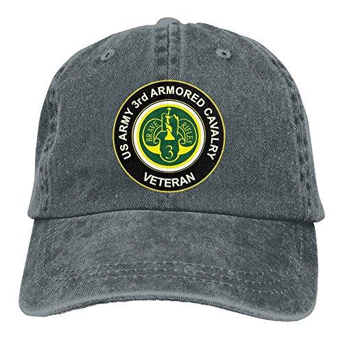 US Army Veteran 3rd Armored Cavalry Denim Dad Cap Baseball Hat Adjustable Sun Cap