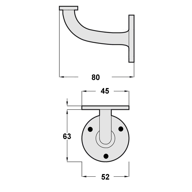 lat/ón pulido s/ólido paquete de 4 63 mm 2,1//2 pulgada Linx/® Baranda de soporte para las escaleras barandillas