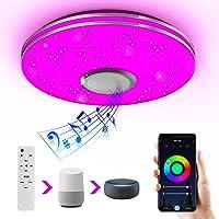 Wayrank Lámpara de Techo Led con Altavoz Bluetooth, Plafon Led Techo RGB Controlada…