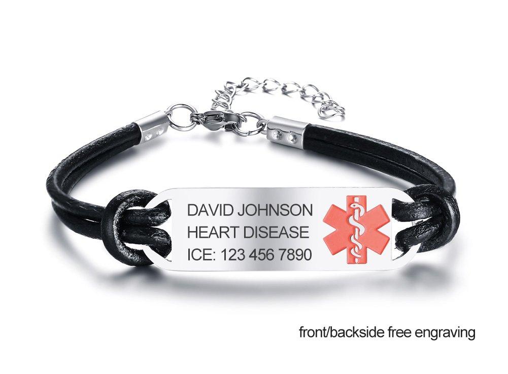 Free Engraving- Handmade Leather Medical Alert Bracelets-Custom Emergency ID Bracelets for Men Women