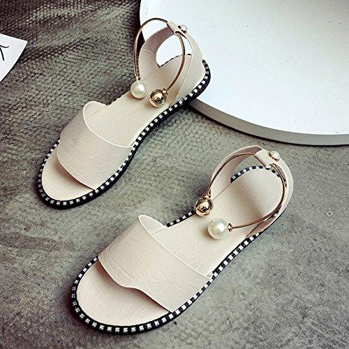RUGAI-UE Hebilla de perla de verano sandalias planas zapatos de mujer simple estudiante Beige
