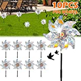 10PCS Bird Blinder Repellent PinWheels, Sparkly Holographic Radium Radiation Pin Wheel Spinners Scare Off Birds and Pests to Protect Garden, Orchard, Farm