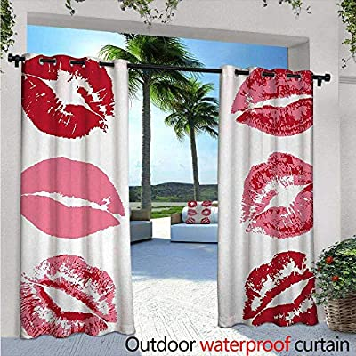 BlountDecor Kiss Indoor/Outdoor Single Panel Print Window Curtain Worn Faded Looking Lipstick Kisses Pattern Passionate Lovers Female Glamour Silver Grommet Top Drape Ruby Dried Rose White