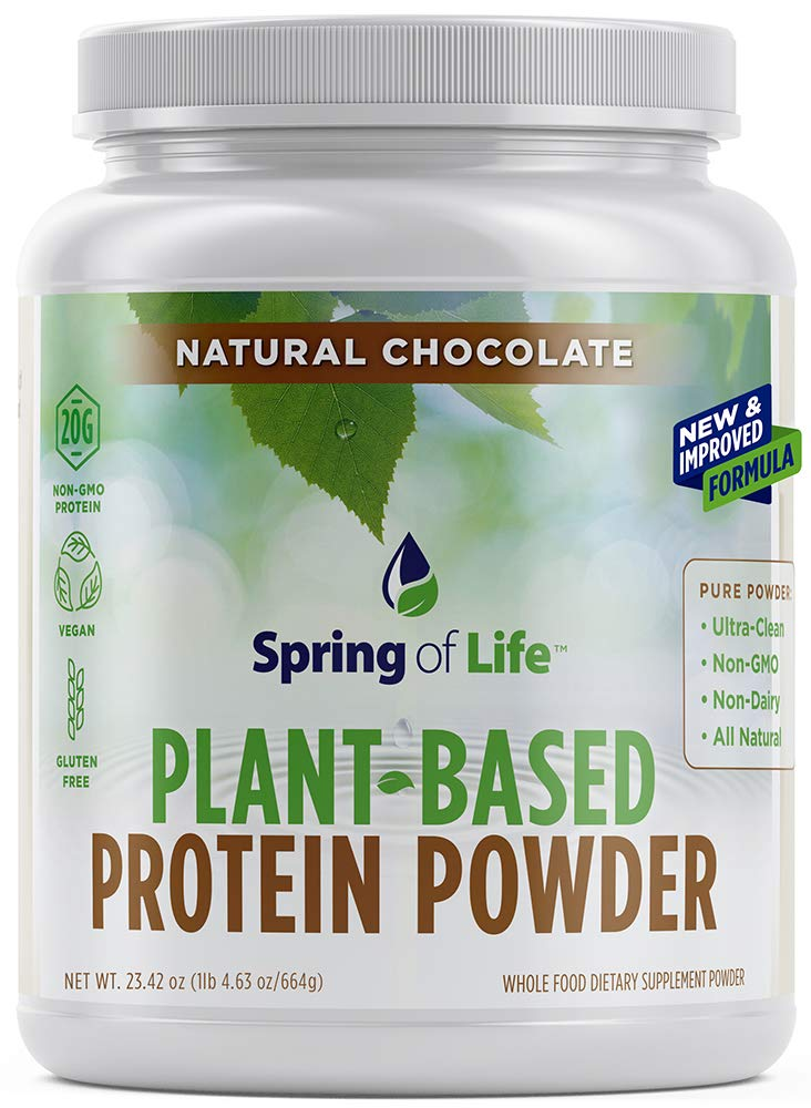 Spring Of Life Plant-Based Protein Powder, Vegan, Non-GMO, Hypoallergenic, Chocolate, 22 Serve